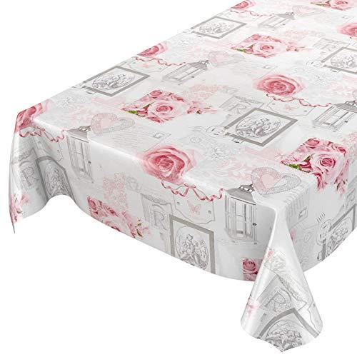 ANRO Wachstuchtischdecke Wachstuch Wachstischdecke Tischdecke abwaschbar Rosen Landhaus Antik Grau 120 x 140cm Schnittkante
