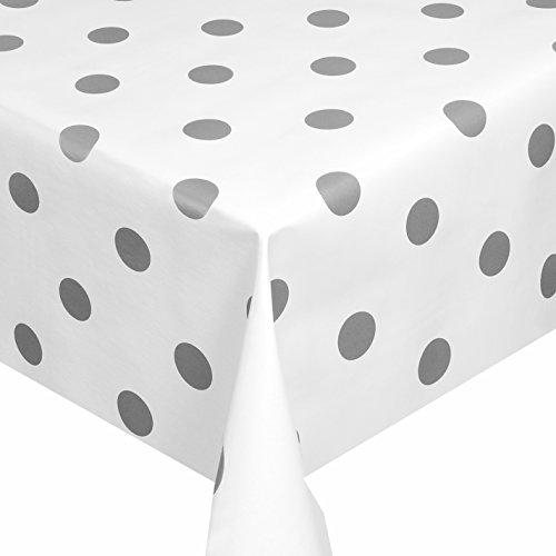 Wachstuch Breite Länge wählbar - Weiss mit Punkte Grau Glatt Lebensmittelecht - Größe ECKIG 80 x 160 bzw 160x80 cm abwaschbare Tischdecke Gartentischdecke
