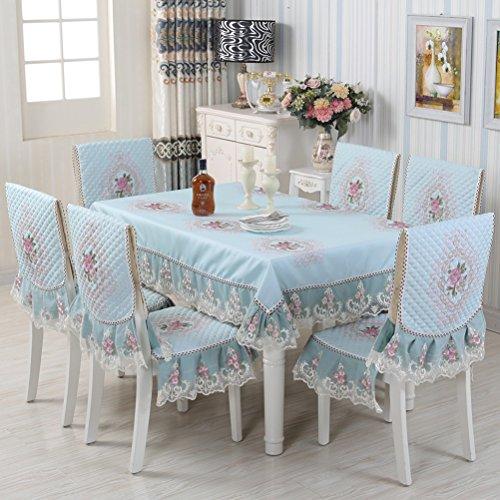 Tablecloth vbimlxft - Europäischen Stil Tischdecken Stuhl Kissen Set verdickt Tuch Spitze Tischdecke Esszimmer Stuhlhussen Dekoration Tischdecke Farbe  B größe  110x160cm