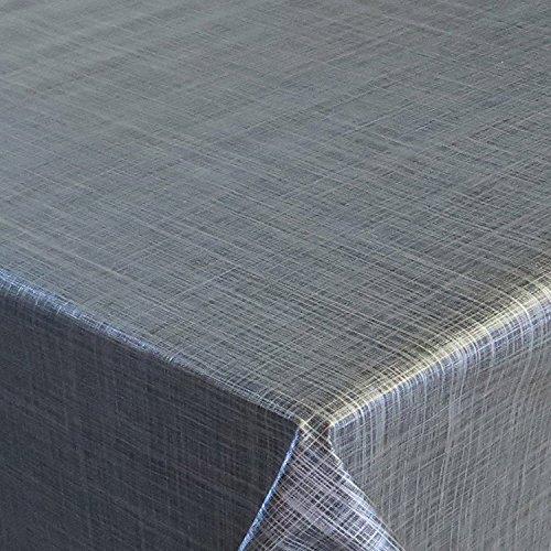 Wachstuch d-c-fix Premium Leinen Look Grau Anthrazit · Eckig 120x140 cm · Länge wählbar· abwaschbare Tischdecke