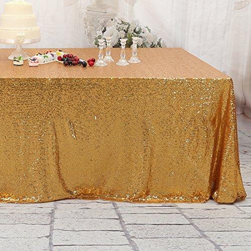 3E Home 72x108 inch Zoll Rechteckig hell Gold Pailletten Tischdecke Tisch decken Hochzeit Bankett