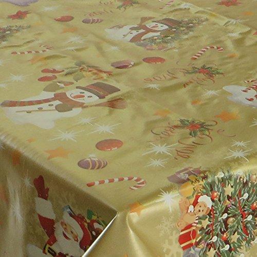 Wachstuch Noel Gold Glatt Weihnachten · Eckig 120x200 cm · Länge wählbar· abwaschbare Tischdecke
