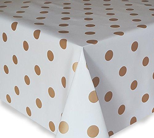 Wachstuch Tischdecke Gartentischdecke Eckig Rund Eckig Motiv u Größe wählbar Punkte-Motiv Weiss-Gold Eckig 130x120