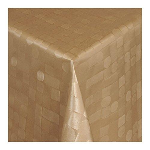 Wachstuch Tischdecke Wachstischdecke Gartentischdecke Abwaschbar Meterware Länge wählbar Hochwertig Geprägtes Mosaik Design in Gold 313-10 140cm x 140cm