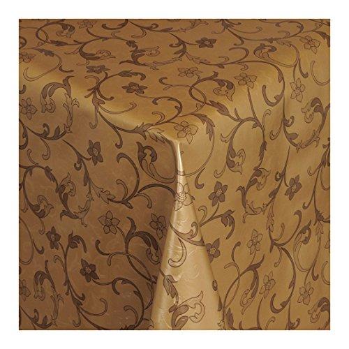 Wachstuch Tischdecke Wachstischdecke Gartentischdecke Abwaschbar Meterware Länge wählbar Hochwertig Geprägtes Wachstuch in Gold mit braunem Rankenmotiv 502-05 200cm x 140cm