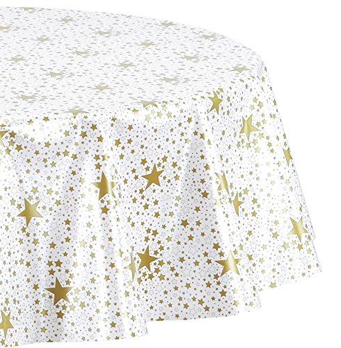 Wachstuchtischdecke abwischbar Wachstuch Tischdecke OVAL RUND ECKIG Sterne Farbe und Größe wählbar Oval 140x210 cm Gold