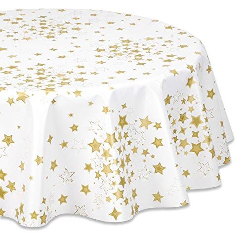Wachstuchtischdecke abwischbar glatt Sterne Weiß Gold RUND OVAL Größe wählbar Rund 100 cm
