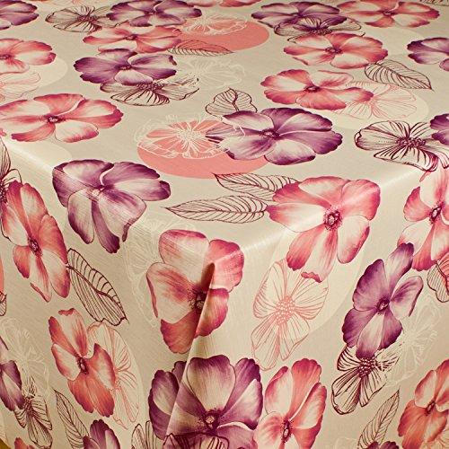 1buy3 Wachstuch  VIELE Farben Muster UND LÄNGEN  Tischdecke Biertischdecke mit Fleecerücken Blumen lila 250cm x 140cm
