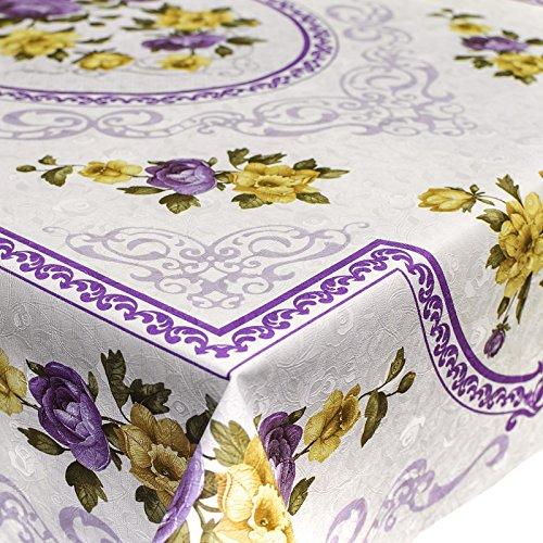 ANRO Abwaschbare Tischdecke Wachstuch Wachstischdecke Rechteck 115x150cm Rosen Lila