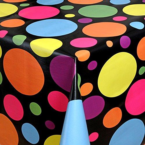 Wachstuch Tischdecke Gartentischdecke mit Fleecerücken Gartentischdecke Pflegeleicht Schmutzabweisend Abwaschbar Punkte Schwarz Lila 100x 140 cm - Größe wählbar