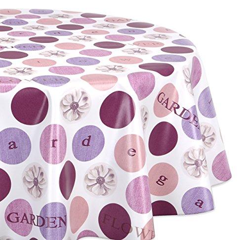 Wachstuchtischdecke glatt abwischbar OVAL RUND ECKIG Wachstuch Garten Tischdecke Größe und Motiv wählbar Rund 120 cm Flower-lila