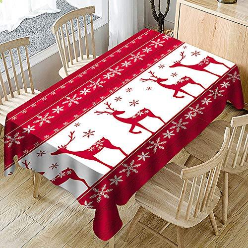 Ansenesna Tischtuch Rot Weihnachten Rechteckig Ornament Tischdecke Stoff Weihnachtlich Gartentischdecke Rot 150X210cm