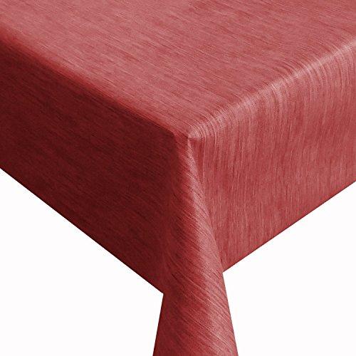DecoHomeTextil Wachstuch Robuste Leinen Prägung Pro RUND OVAL ECKIG Breite Länge wählbar Rot Eckig 140 x 280 cm abwaschbare Tischdecke Gartentischdecke