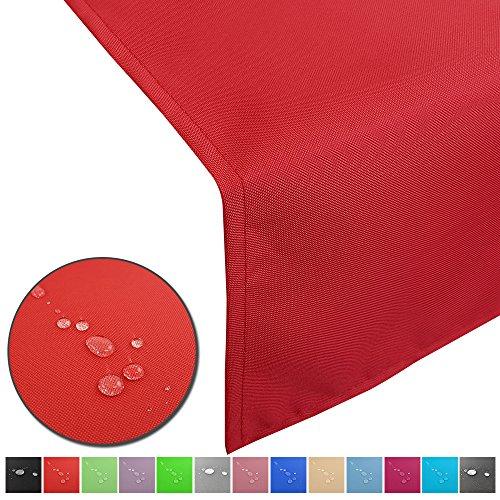 Outdoor Tischläufer Lounge mit Lotuseffekt wasserabweisende abwaschbaren Tischdecken in verschiedene Farben und Größen Tischband Gartentischdecke pflegeleicht und wetterfest FarbeRot Größe50 x 200 cm