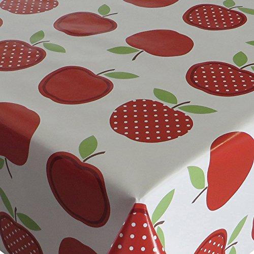 Wachstuch Tischdecke Wachstischdecke Gartentischdecke Apfel Mela Rot · Eckig 120x150 cm · Länge Breite wählbar· abwaschbare Tischdecke