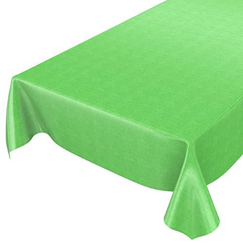 ANRO Wachstuchtischdecke Wachstuch Wachstischdecke Tischdecke abwaschbar Grün Leinenoptik Textiloptik 120 x 140cm