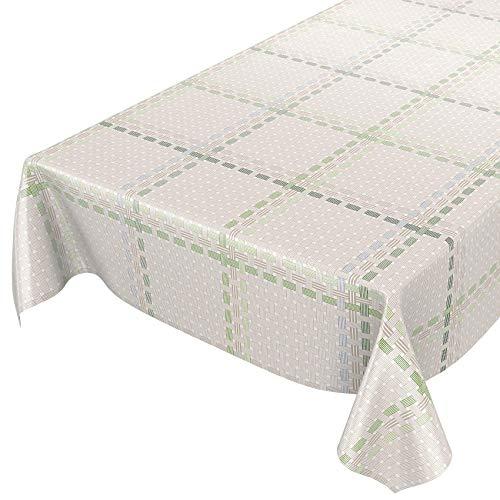 ANRO Wachstuchtischdecke Wachstuch Wachstischdecke Tischdecke abwaschbar Grün Textiloptik Textillook Karo 160 x 140cm