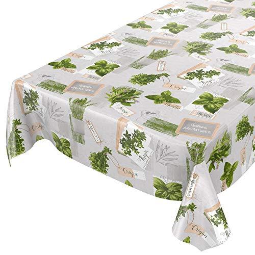 ANRO Wachstuchtischdecke Wachstuch Wachstischdecke Tischdecke abwaschbar Kräuter Grün Beige Bio Basilikum 120 x 140cm