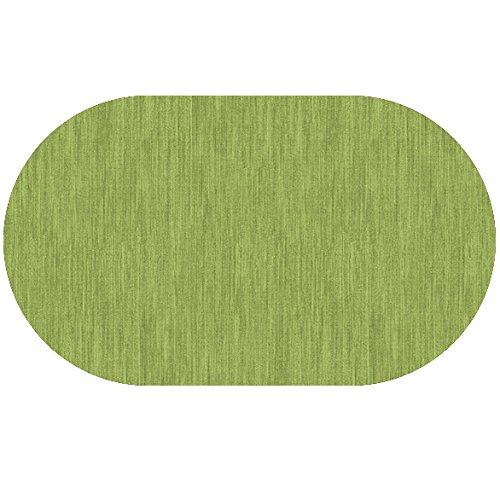 DecoHomeTextil Wachstuch Robuste Leinen Prägung Rund Oval Größe Farbe Wählbar Oval 130 x 180 cm Grün abwaschbare Tischdecke