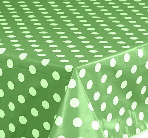 Wachstuch Tischdecke Abwaschbar Eckig 140 x 240 cm Punkte Grün