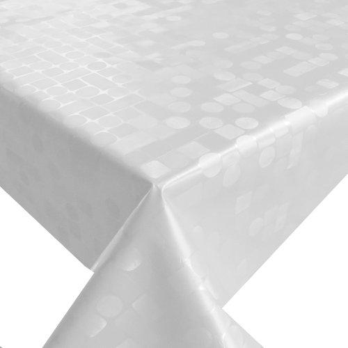 Wachstuch Breite Länge wählbar - Tropfen Weiss geprägt Lebensmittelecht - Größe ECKIG 120 x 200 bzw 200x120 cm abwaschbare Tischdecke Gartentischdecke