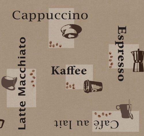 Wachstuch Breite Länge wählbar - d-c-fix Kaffee Beige Cappuccino Espresso 3854559 - ECKIG 120 x 200 bzw 200x120 cm abwaschbare Tischdecke Wachstücher Gartentischdecke