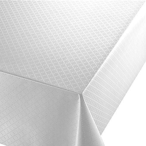 Wachstuch Diamant Relief Weiss Breite Länge wählbar abwaschbare Tischdecke Eckig 120 x 200 cm
