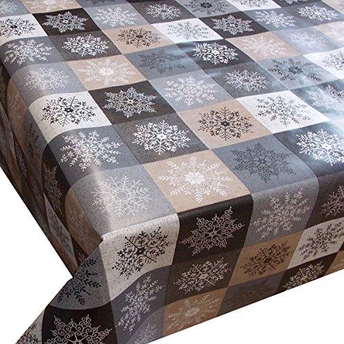 Wachstuch Kristall Beige Braun Weihnachten· Eckig 120x200 cm · Länge wählbar· abwaschbare Tischdecke