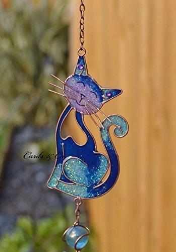 Blau-Buntglas Smiling Cat Hanging Suncatcher Mobilwindspiel Garten Heim