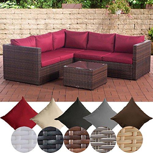 CLP Poly-Rattan Lounge-Set GENERO l Garten-Set mit 5 Sitzplätzen l Garnitur mit Aluminium-Gestell l Komplett-Set bestehend aus 3er Sofa  2er Sofa  Tisch rubinrot Braun Meliert