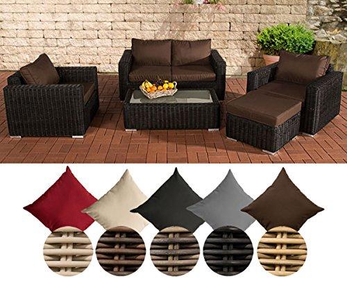 CLP Polyrattan Lounge MADEIRA inkl Polsterauflagen  Gartenmöbel-Set ein 2er-Sofa zwei Sessel ein Loungetisch und ein Hocker  In verschiedenen Farben erhältlich Bezugfarbe Terrabraun Rattan Farbe schwarz