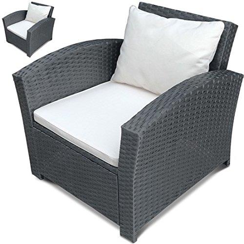 MIADOMODO Einzelsessel aus Polyrattan  2er Set  Farbwahl  Premium Lounge Sessel  Lounge Sofa  Gartenmöbel  Rattan Sessel  Balkonmöbel Farbe Grau