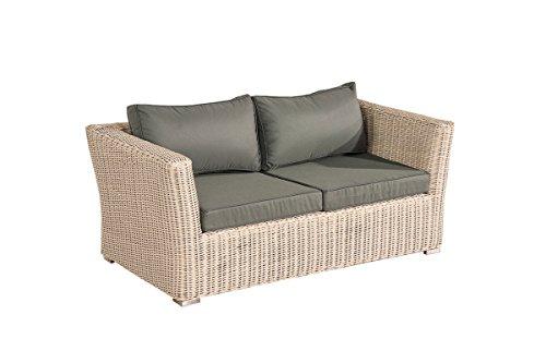 Mendler 2er Sofa 2-Sitzer Sousse Poly-Rattan ~ perlweiß mit Kissen in eisengrau