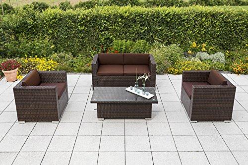 baumarkt direkt Loungeset Bari Deluxe 12-tgl 2 Sessel 2er-Sofa Tisch 120x60 cm Polyrattan braun