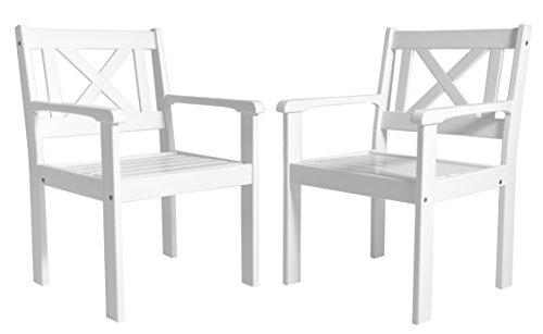 Ambientehome Garten Sessel Stuhl Massivholz Gartenmöbel EVJE Weiß 2-teiliges Set