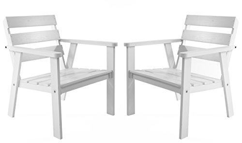 Ambientehome Gartensessel Loungesessel Sessel Gartenstuhl Massivholz HANKO Weiß 2-teiliges Set