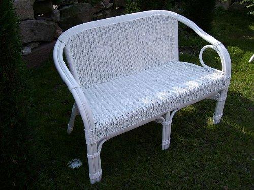 Rattan Sofa Bank Sessel weiß