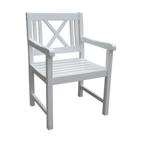 Unbekannt VARILANDO Armlehnen-Sessel Matthilde aus weiß lackierter Akazie Holz-Gartenstuhl Schweden-Look