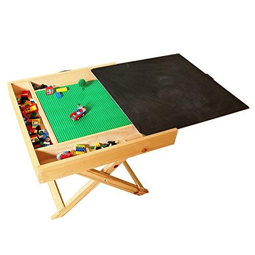 Hot wing Spieltisch für Kinder kompatibel mit LEGO für viele verschiedene Aktivitäten geeignet tragbar zusammenklappbar quadratisch mit Kreidetafel und Stauraum