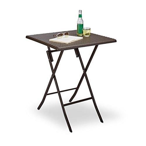 Relaxdays Gartentisch klappbar BASTIAN quadratisch H x B x T 74 x 615 x 615 cm Metall Kunststoff Rattan-Optik braun