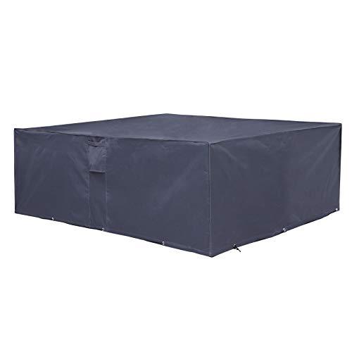 SONGMICS Schutzhülle für Gartenmöbel 240 x 140 x 90 cm Abdeckeplane für Tisch und Stühle Outdoor wasserdicht rechteckig grau GFC93G