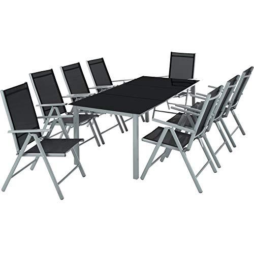 TecTake Aluminium Sitzgarnitur 81 Sitzgruppe Gartenmöbel Tisch Stuhl-Set - Diverse Farben - Silber Grau  Nr 402165