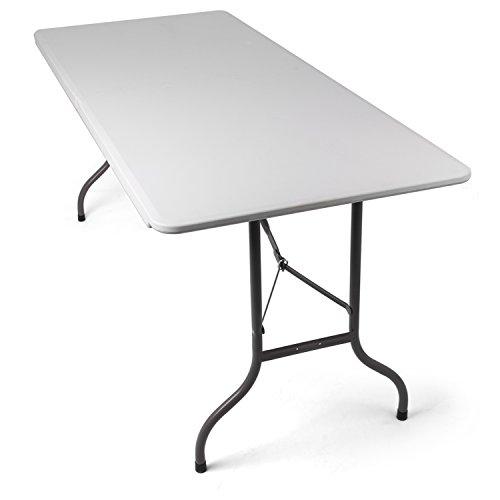 Park Alley Gartentisch Klapptisch gut geeignet als Partytisch oder Buffettisch für Garten Terrasse und Balkon - Tisch aus Kunststoff ist zusammenklappbar und inkl Tragegriff weiß