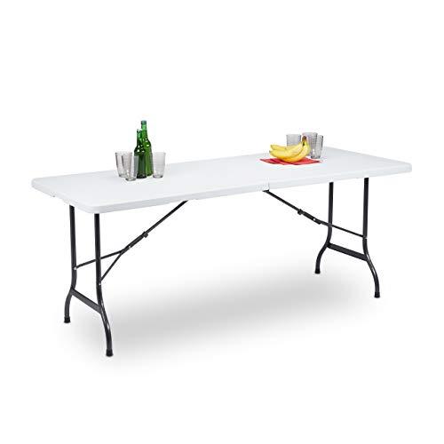 Relaxdays Gartentisch klappbar als Koffer tragbar wetterfest eckig Metallgestell Kunststoff HBT 72x180x75cm weiß