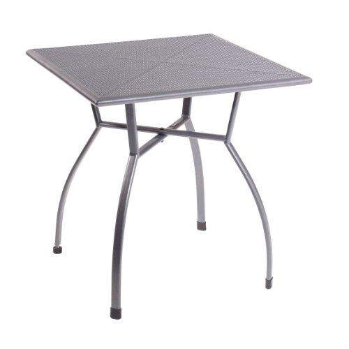 greemotion Gartentisch Toulouse eckig quadratischer Tisch aus kunststoffummanteltem Stahl Esstisch mit Niveauregulierung eisengrau