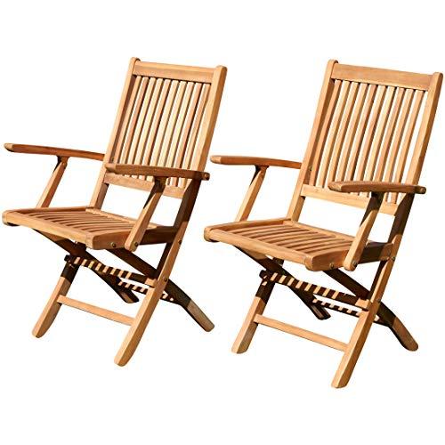 2X Echt Teak Klappsessel Gartensessel Gartenstuhl Sessel Holzsessel mit Armlehne Gartenmöbel Holz Aves