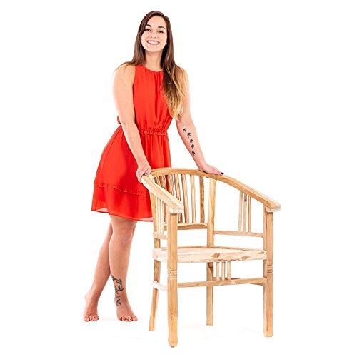 4er Set Teak Holz Stühle Sessel Teakholz von MACO mit Armlehne