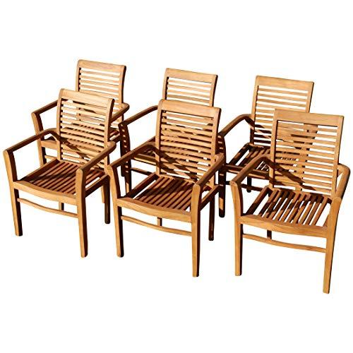 ASS 6Stk Echt Teak Design Gartensessel Gartenstuhl Sessel Holzsessel Gartenmöbel Holz Sehr Robust Modell 6erJAV-Alpen von
