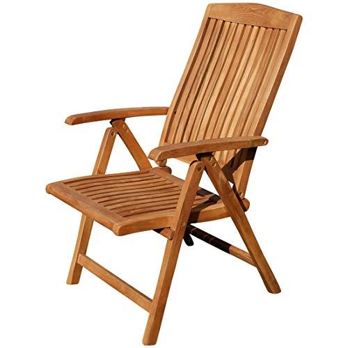 ASS Teak Design Hochlehner Gartensessel Gartenstuhl Sessel Holzsessel Klappsessel Gartenmöbel Holz Sehr Robust 7fach-Verstellbar Modell JAV-TOBAGO-2018 von