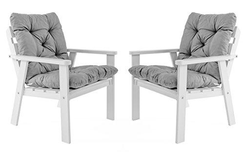 Ambientehome Gartensessel Loungesessel Sessel Gartenstuhl Massivholz inkl Kissen HANKO Weiß 2-teiliges Set